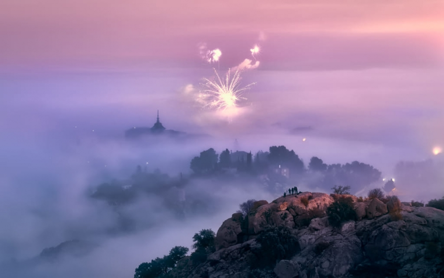 Misty Morning and Fireworks in Toledo City