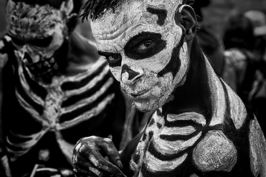 Skeleton man at the Mt Hagen sing-sing festival - Papua New Guinea