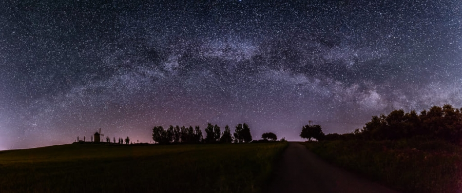 The Milky Way over the windmill
