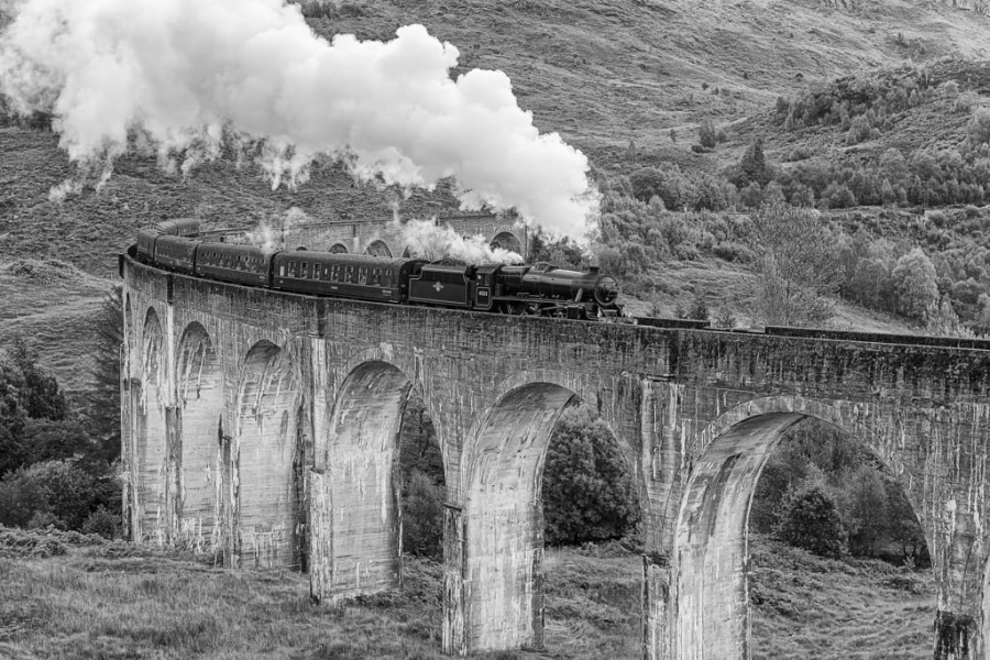 The Jacobite train at Glenfinnan Viaduct