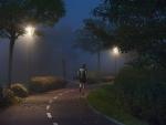 Correr en noche de niebla